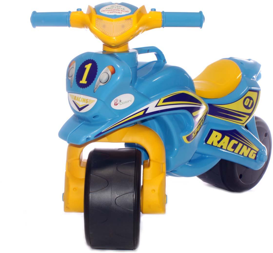 Doloni Байк-каталка музыкальный Sport, цвет голубой желтый байк музыкальный doloni sport голубой желтый 0139 1
