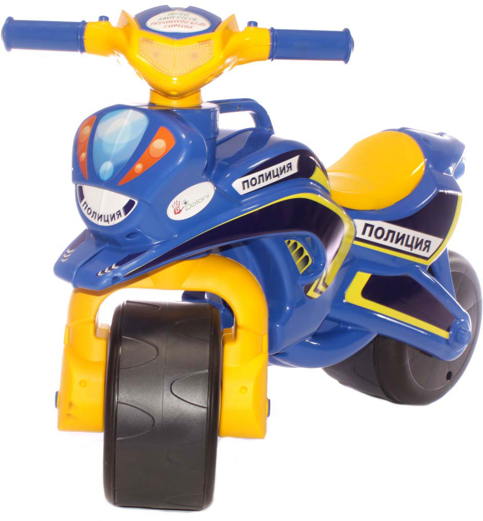 Doloni Байк-каталка музыкальный Полиция, цвет синий желтый doloni байк каталка музыкальный полиция цвет красный желтый