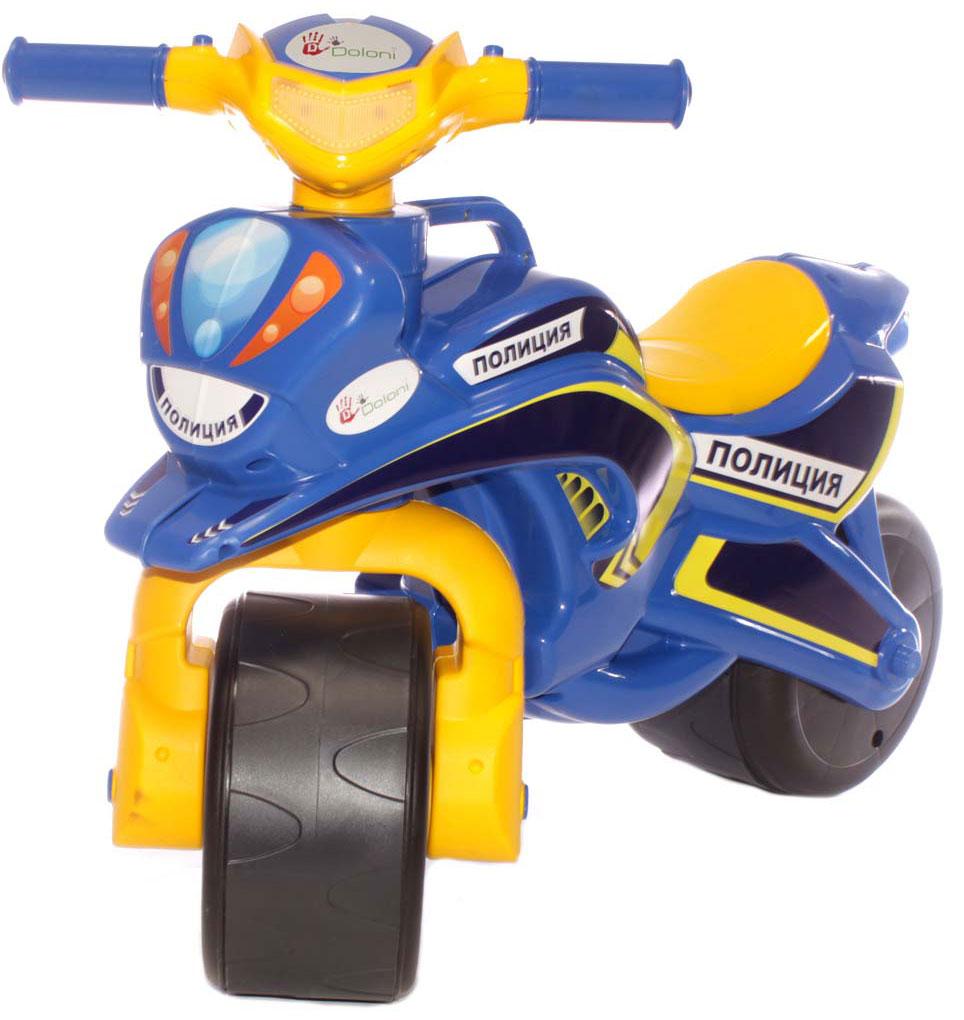 Doloni Байк-каталка Полиция, цвет синий желтый doloni байк каталка музыкальный полиция цвет красный желтый