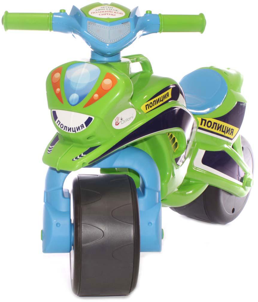 Doloni Байк-каталка музыкальный Полиция, цвет зеленый голубой doloni байк каталка музыкальный полиция цвет красный желтый