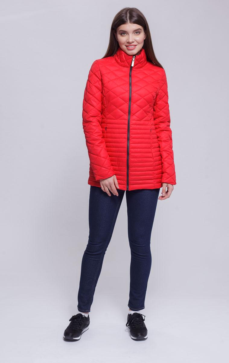 Куртка женская Ampir Style, цвет: коралловый. 8918. Размер 448918Качественная и практичная куртка российского производства. Наполнитель - холлофайбер в пух-пакетах. Можно стирать в машинке, наполнитель не убежит. На модели 42 размер куртки, параметры модели 82х64х89, рост 175 см.