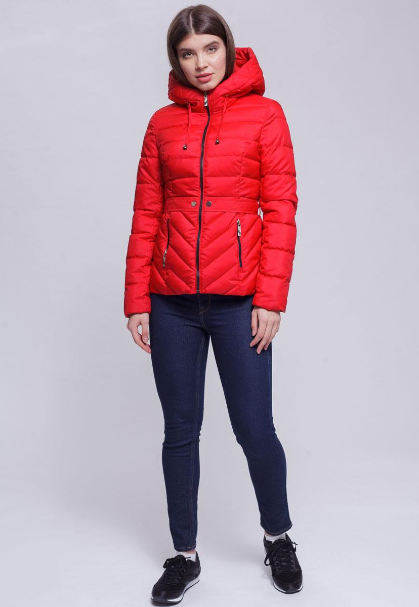 Куртка женская Ampir Style, цвет: коралловый. 8921. Размер 448921Качественная и практичная куртка российского производства. Наполнитель - холлофайбер в пух-пакетах. Можно стирать в машинке, наполнитель не убежит. На модели 42 размер куртки, параметры модели 82х64х89, рост 175 см.