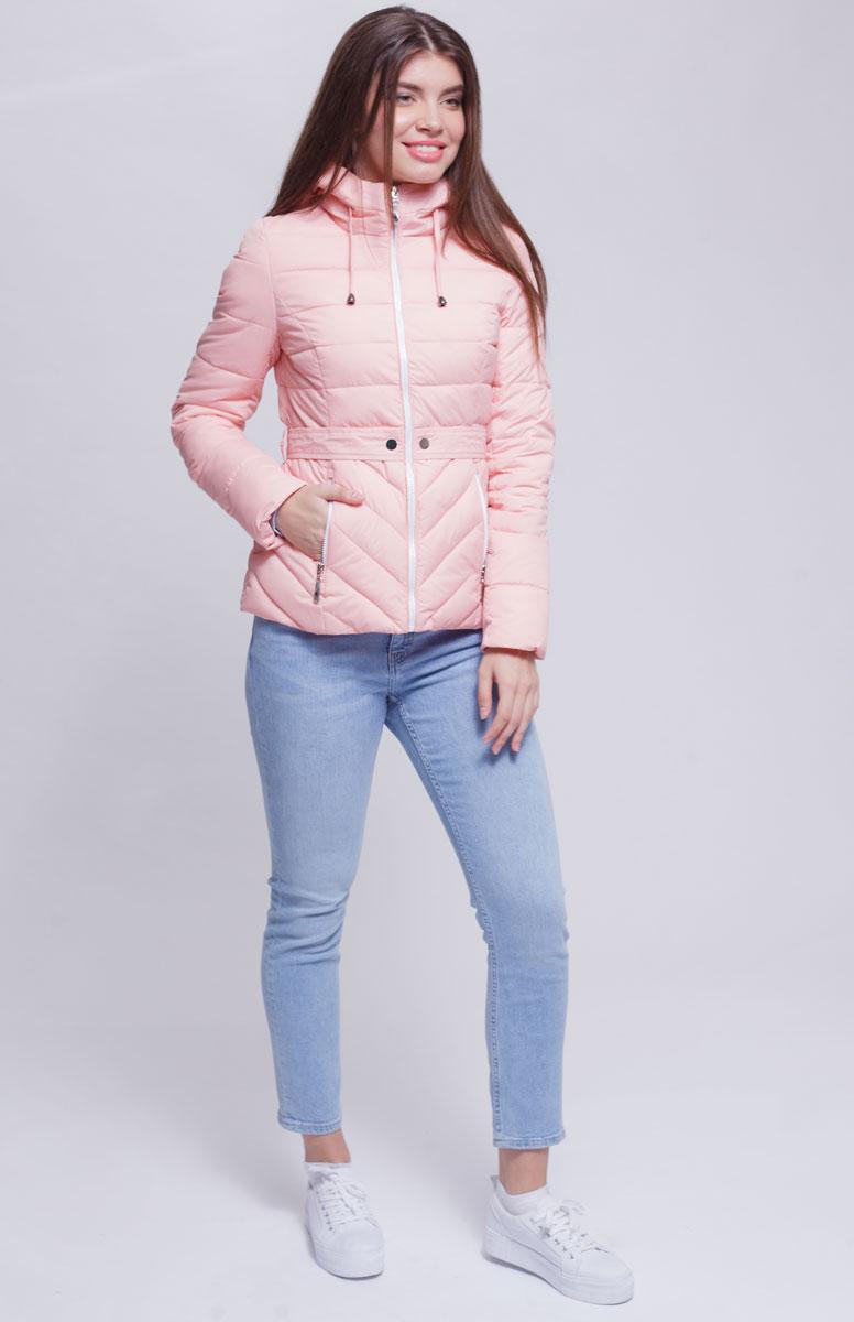 Куртка женская Ampir Style, цвет: пудровый. 8921. Размер 508921Качественная и практичная куртка российского производства. Наполнитель - холлофайбер в пух-пакетах. Можно стирать в машинке, наполнитель не убежит. На модели 42 размер куртки, параметры модели 82х64х89, рост 175 см.
