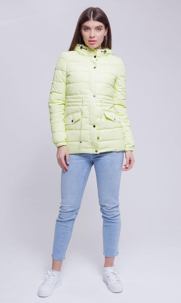 Куртка женская Ampir Style, цвет: лимонный. 8927. Размер 488927Качественная и практичная куртка российского производства. Наполнитель - холлофайбер в пух-пакетах. Можно стирать в машинке, наполнитель не убежит. На модели 42 размер куртки, параметры модели 82х64х89, рост 175 см.
