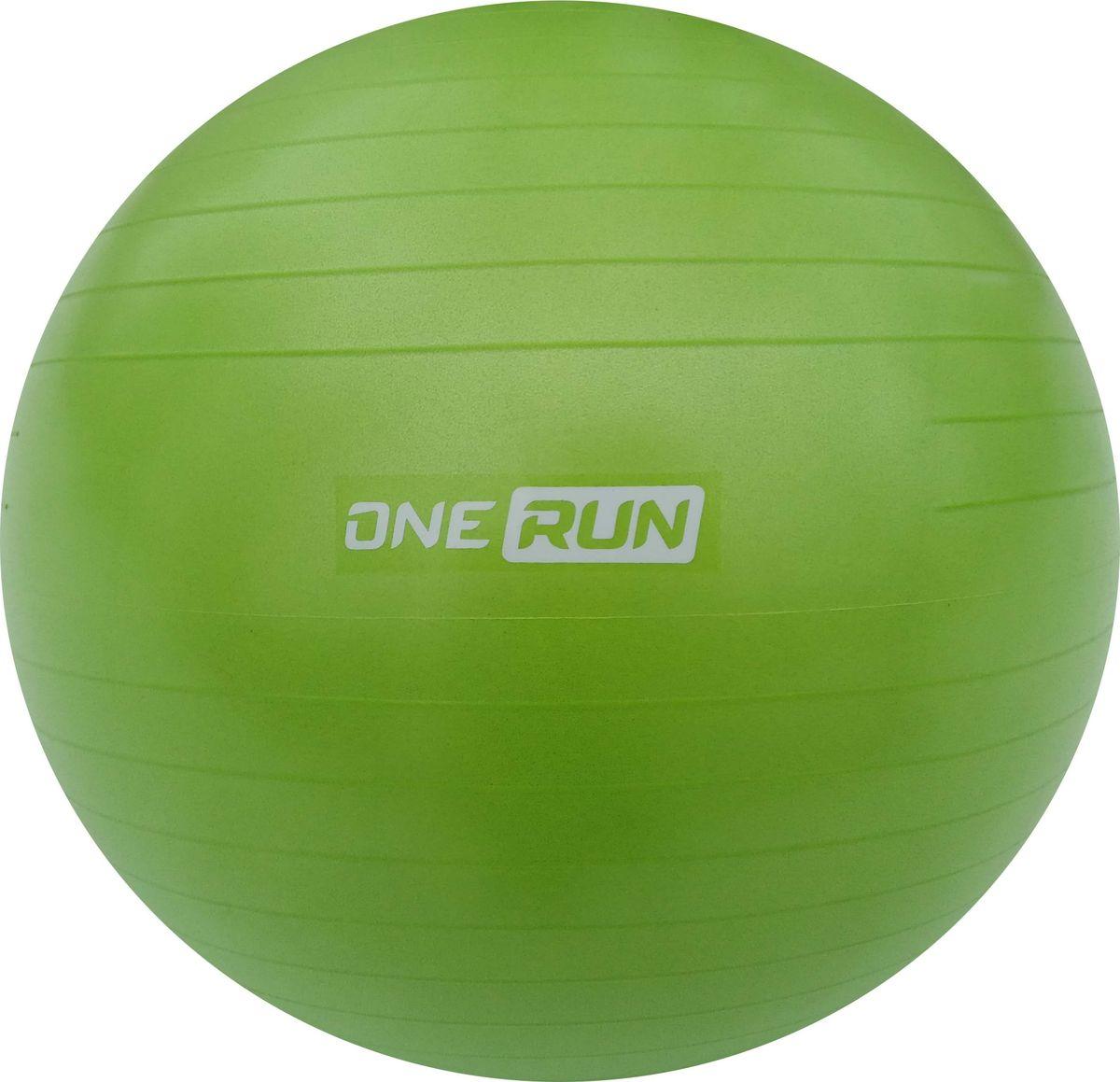 Мяч гимнастический OneRun, анти-взрыв, цвет: зеленый, 65 см гимнастический шар 65 см