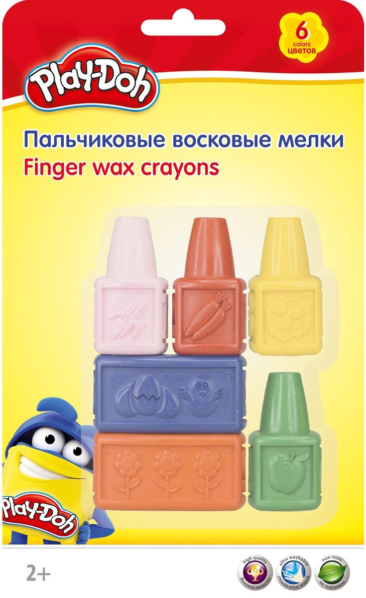 Набор восковых мелков Play-Doh PDEB-US1-CRB-SET, пальчиковые, 6 цветов play doh краски гуашевые 6 цветов
