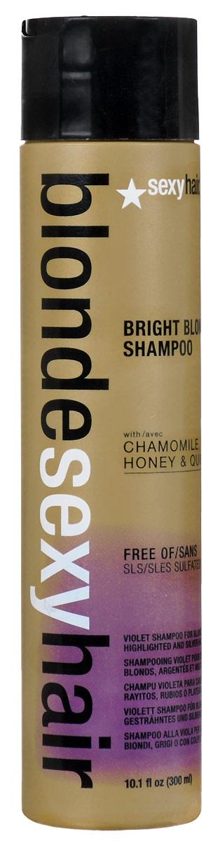 Sexy Hair Шампунь корректирующий Сияющий Блонд без сульфатов, Sulfate-free bright blonde shampoo, 300 мл sexy hair sulfate free bright blonde shampoo 50