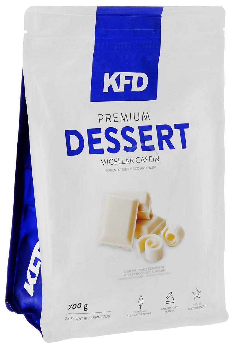 Казеин KFD Dessert, белый шоколад, 700 г5901947664230Premium Dessert Micellar Casein KFD Nutrition - это высококачественный, 100% чистый мицеллярный казеин. Отличный вкус этого продукта, сливочная консистенция и небольшое количество жира и сахара идеально подходит для создания очень сытного десерта или пищи с высоким содержанием белка. Как и во всех продуктах KFD в нём нет красителей, консервантов или низкокачественных примесей растительных белков.Как повысить эффективность тренировок с помощью спортивного питания? Статья OZON Гид