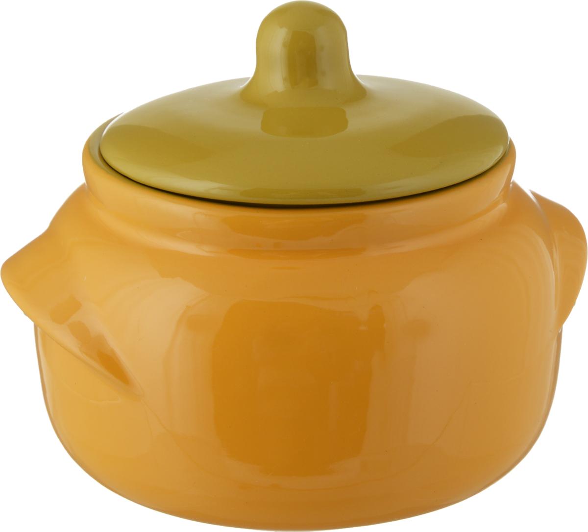 Горшочек для запекания Борисовская керамика Новарусса, цвет: желтый, горчичный, 500 млРАД14457746_желтый, горчичный