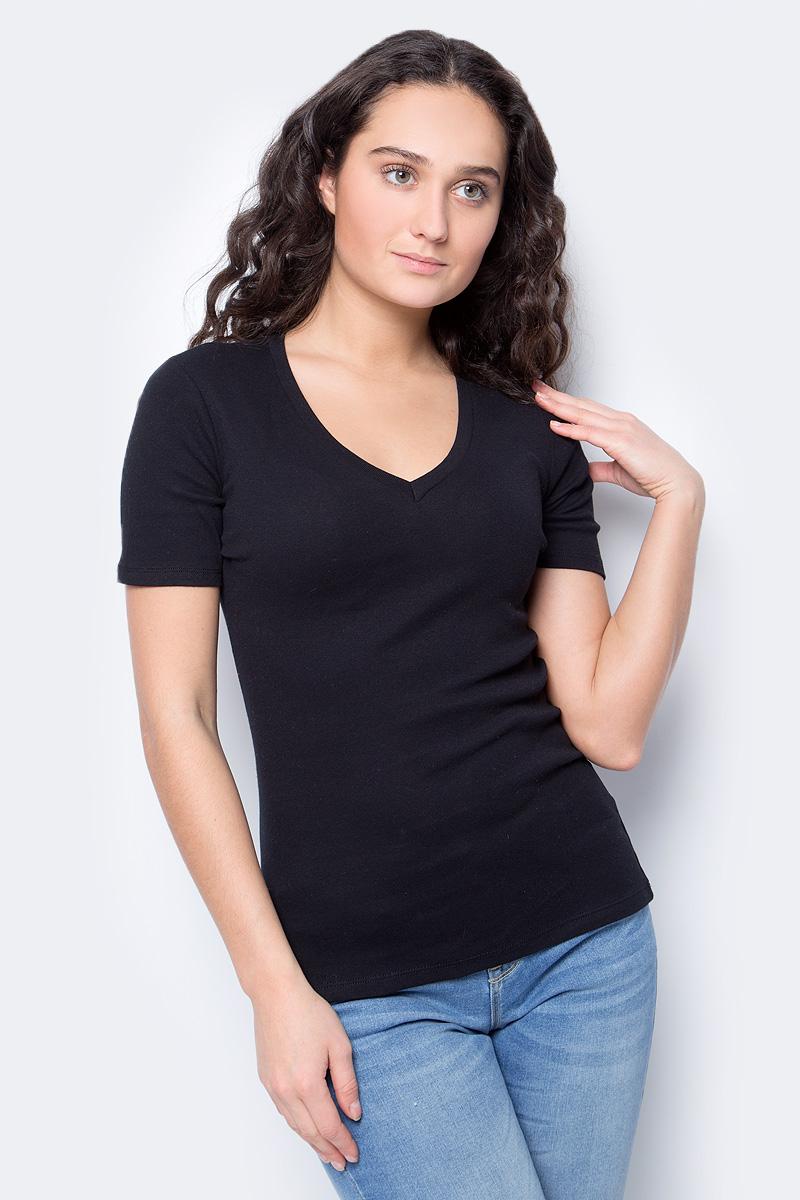 Футболка женская United Colors of Benetton, цвет: черный. 3GA2E4158_100. Размер M (44/46) футболка базовая с u образным вырезом