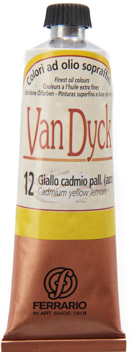 Ferrario Краска масляная Van Dyck цвет №12 кадмий лимонный 60 млAV0017CO12Масляные краски серии VAN DYCK итальянской компании Ferrario изготавливаются из натуральных мелко тертых пигментов с добавлением качественного связующего материала. Благодаря этому масляные краски VAN DYCK обладают превосходной светостойкостью, чистотой цветов и оттенков. Краски можно разбавлять льняным маслом, терпентином или нефтяными разбавителями. Все цвета хорошо смешиваются между собой. В серии масляных красок VAN DYCK представлено 87 различных оттенков, а также 6 металлических оттенков.Дополнительные характеристики: – Изготавливаются из натуральных мелко тертых пигментов с добавлением качественного связующего материала; – Краски хорошо смешиваются между собой;