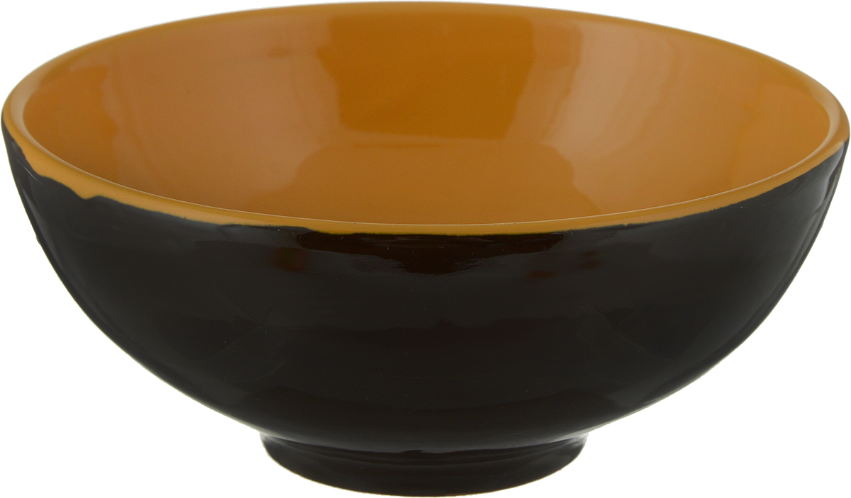Салатник Борисовская керамика Удачный, цвет: черный, оранжевый, 450 млРАД00003358_черный, оранжевыйСалатник Борисовская керамика Удачный, цвет: черный, оранжевый, 450 мл