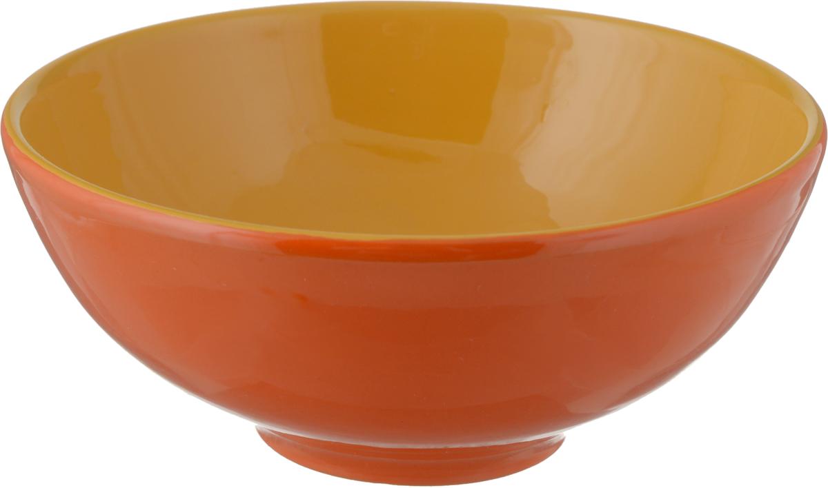 """Салатник Борисовская керамика """"Удачный"""", цвет: красный, оранжевый, 450 мл"""