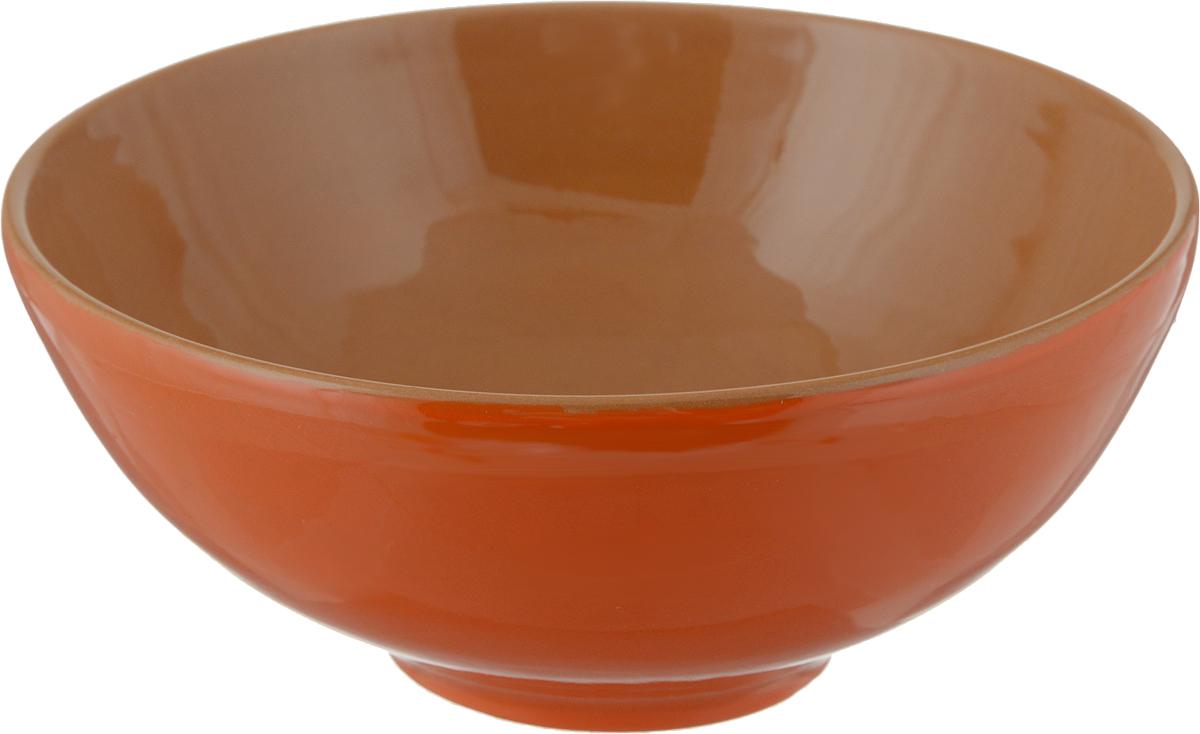 """Салатник Борисовская керамика """"Удачный"""", цвет: красный, коричневый, 450 мл"""
