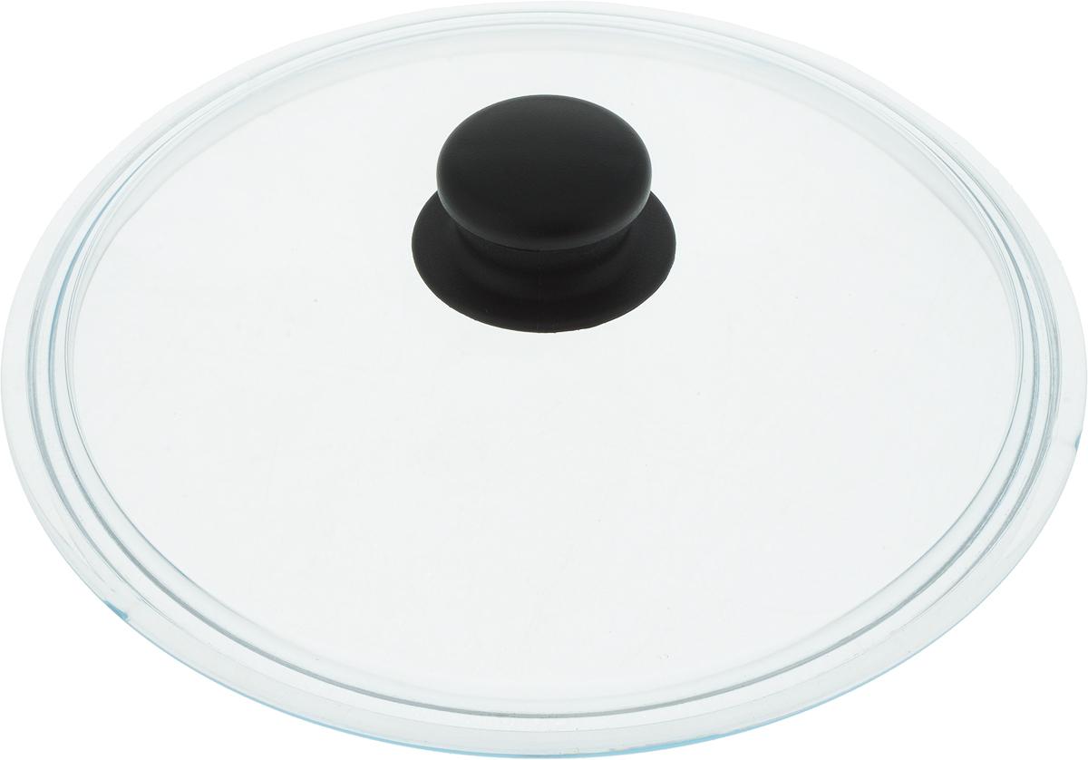 Крышка из термостойкого стекла с пароотводом и пластиковой ручкой.