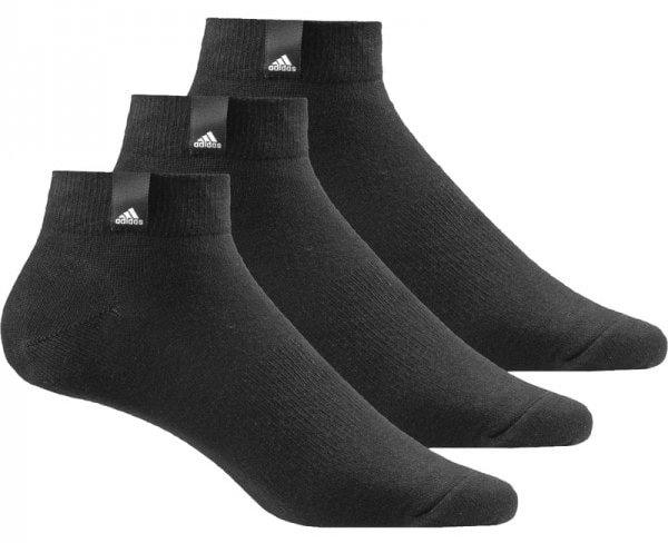 Носки Adidas Per La Ankle, цвет: черный, 3 пары. AA2484. Размер 35/38AA2484Носки adidas изготовлены из высококачественного эластичного хлопка с добавлением полиэстера и полиамида. Укороченные носки с поддержкой стопы имеют эластичную резинку, которая надежно фиксирует носки на ноге. В комплект входят 3 пары носков.