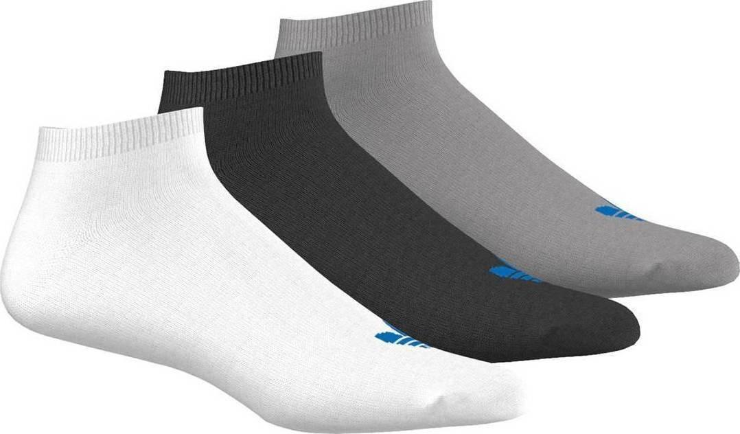 Носки Adidas Trefoil Liner, цвет: черный, белый, серый, 3 пары. AB3889. Размер 39/42AB3889Носки adidas изготовлены из высококачественного эластичного хлопка с добавлением полиамида. Укороченные носки с поддержкой стопы имеют эластичную резинку, которая надежно фиксирует носки на ноге. В комплект входят 3 пары носков разных цветов.