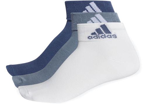 Носки Adidas Per Ankle T, цвет: синий, серый, белый, 3 пары. CF7368. Размер 39/42CF7368Носки adidas изготовлены из высококачественного эластичного хлопка с добавлением полиэстера и полиамида. Укороченные носки с поддержкой стопы имеют эластичную резинку, которая надежно фиксирует носки на ноге. В комплект входят 3 пары носков разных цветов.