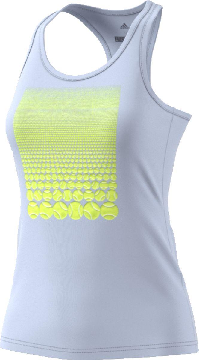 Майка женская Adidas Resort Tank W, цвет: голубой. CV4287. Размер M (46/48)CV4287Женская майка для тенниса от Adidas подарит вам комфорт во время тренировок. Эффектный объемный принт на груди изображает пляж из теннисных мячей. Модель с круглым воротом и перекрестными лямками выполнена из ткани Climalite, которая отводит излишки влаги от кожи, сохраняя ощущение сухости. Adidas заботится об окружающей среде при производстве товаров. Этот майка выполнена из переработанного полиэстера с целью сохранения ресурсов и уменьшения вредных выбросов в атмосферу.