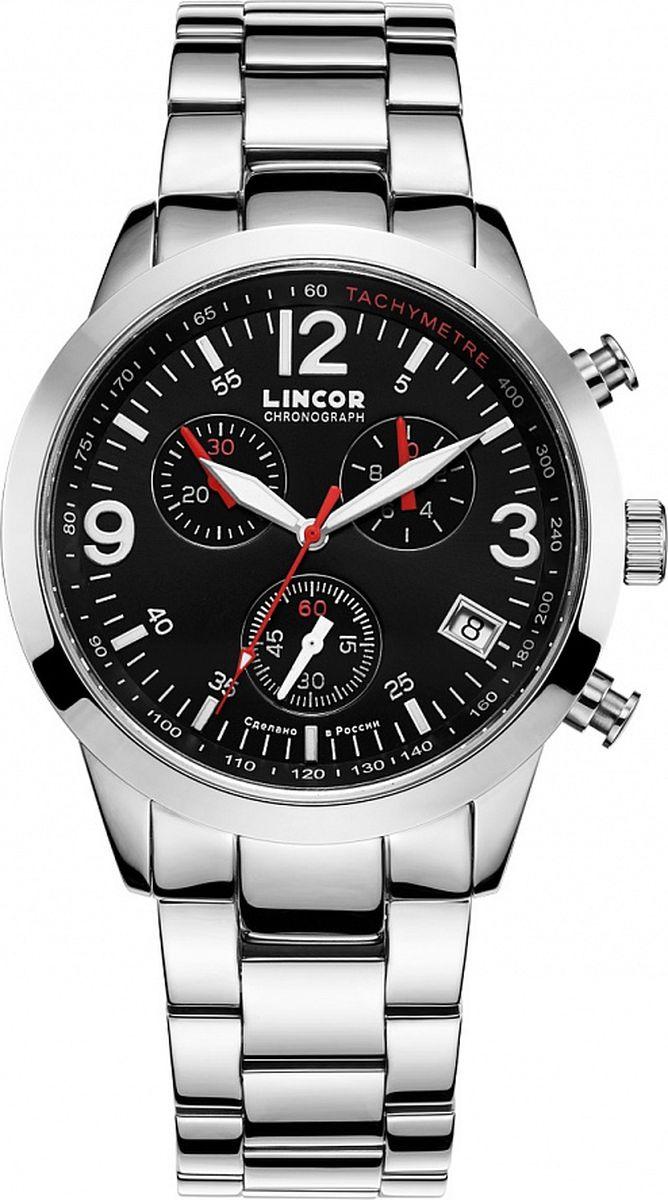 Часы наручные мужские Lincor, цвет: серебристый. 1159S0B2