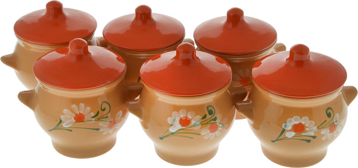 Набор горшочков для запекания Борисовская керамика Стандарт, с крышками, цвет: светло-коричневый, оранжевый, 600 мл, 6 шт набор форм для заливного home queen с крышками 3 шт