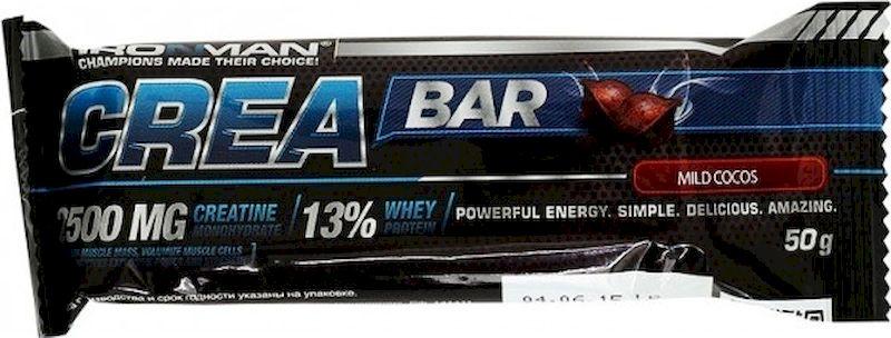 Батончик энергетический Ironman Crea Bar, с креатином, кокос, темная глазурь, 50 г4607062750612Crea Bar – шоколадный батончик с максимум пользой, энергии, а также мышечный рост! обладает ярко выраженным тонизирующим действием, обусловленным содержанием креатина. Вкусный и полезный перекус!Состав:Глюкозный сироп, сахар, сыворотка концентрат сывороточного белка Armor Proteines S.A.S.,Франция, кокосовая стружка,Индонезия,патока, молоко сухое обезжиренное, соль, шоколадная глазурь, 99,9% моногидрат креатина, смесь витаминов DSM Nutritional Products,Швейцария.