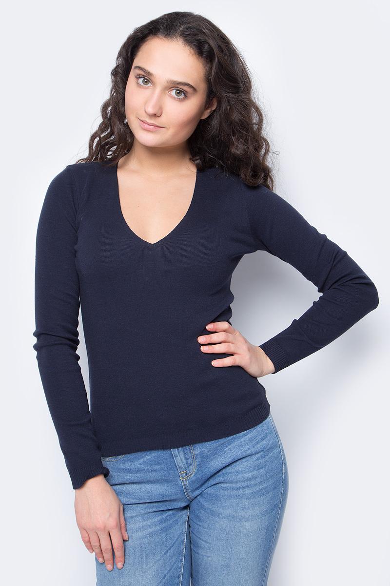 Пуловер женский United Colors of Benetton, цвет: синий. 1091D4371_06U. Размер M (44/46)1091D4371_06UПуловер от United Colors of Benetton выполнен из натуральной хлопковой пряжи. Модель с длинными рукавами и глубоким V-образным вырезом горловины.