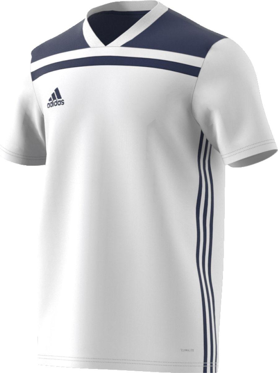 Футболка мужская Adidas Regista 18 Jsy, цвет: белый, темно-синий. CE8972. Размер XL (56/58) футболка мужская adidas regista 18 jsy цвет синий белый ce8965 размер m 48 50
