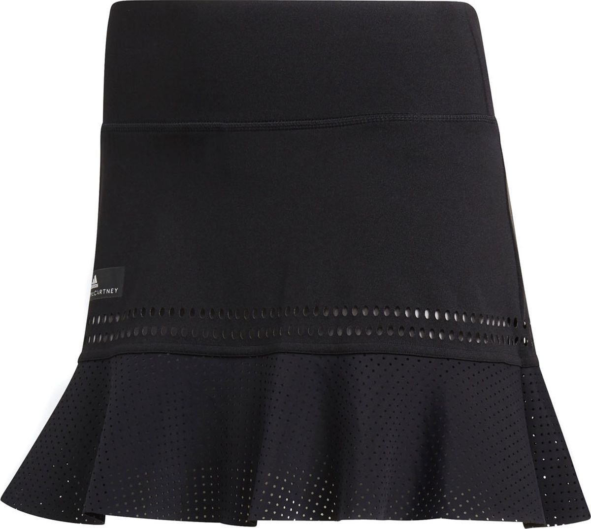 Юбка Adidas Asmc Q2 Skirt, цвет: черный. CG2373. Размер M (46/48)CG2373Стильная теннисная юбка из коллекции adidas by Stella McCartney. Благодаря дышащей, охлаждающей технологии Climachill в ней будет комфортно даже во время самых напряженных моментов на корте. Элегантный дизайн и вырезанные лазером детали для дополнительной вентиляции. Модель на широком высоком поясе дополнена вшитыми короткими леггинсами. Изделие оформлено ярлычком с логотипом adidas by Stella McCartney на бедре.