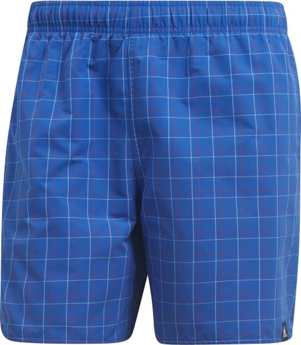 Шорты мужские Adidas Check Sh Sl, цвет: синий. CV5164. Размер XL (56/58)CV5164Мужские шорты для плаванья от Adidas выполнены из полиэстера. Модель с эластичным поясом дополнена боковыми карманами. Изделие оформлено принтом в клетку.