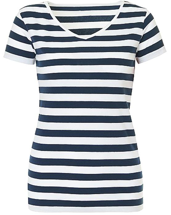 Футболка женская Baon, цвет: темно-синий, белый. B238204_White Striped. Размер M (46) женская одежда
