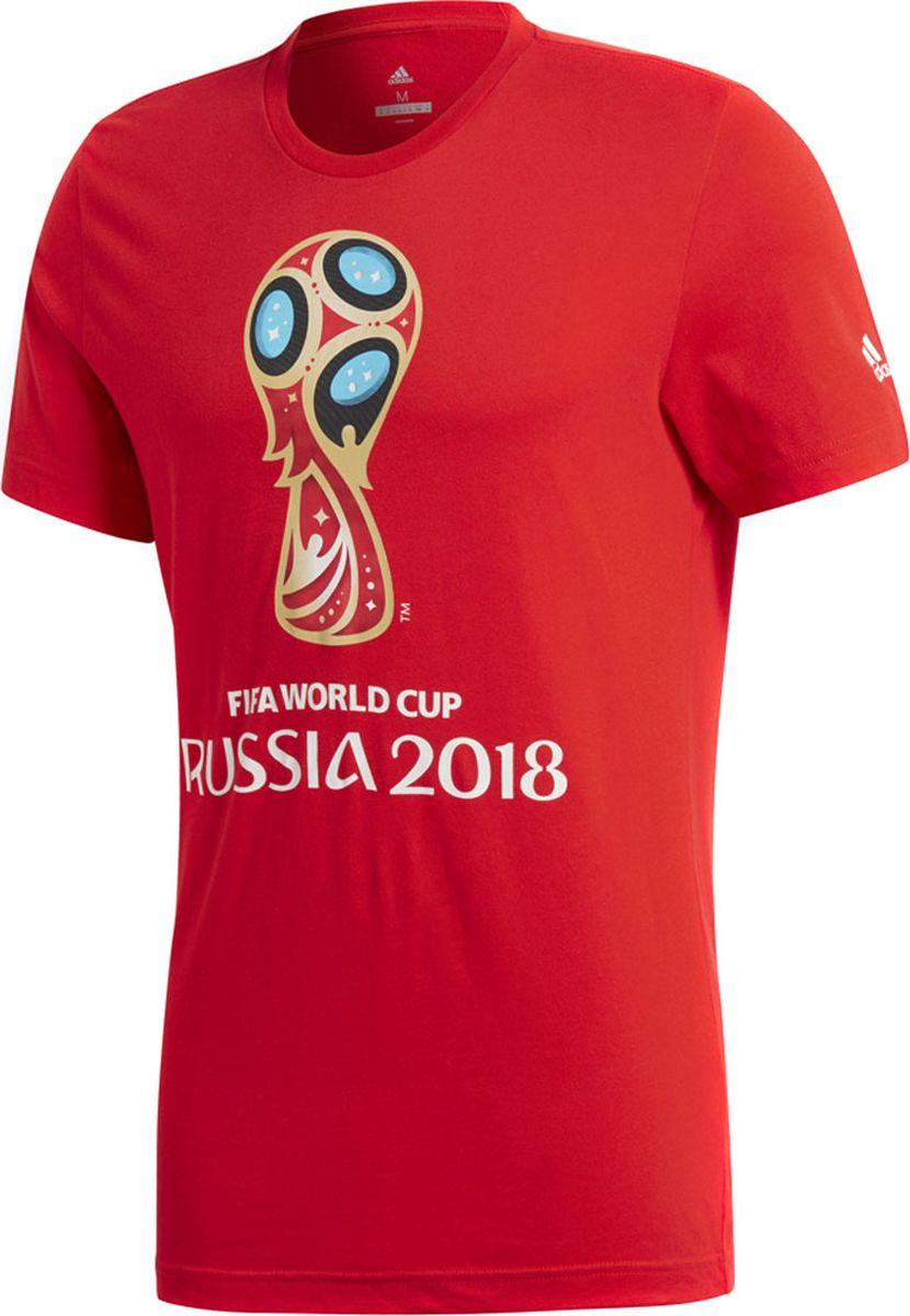 Футболка мужская Adidas Wc Emblem, цвет: красный. CV6336. Размер L (52/54)CV6336Болей за любимую команду на чемпионате мира по футболу 2018 в футболке Adidas с эмблемой турнира. Цветовая палитра напоминает о национальном флаге, а символика отсылает к покорению космоса, иконописи и спорту, которые стойко ассоциируются с Россией. Модель с рифленым круглым вырезом горловины и короткими рукавами оформлена эмблемой чемпионата мира по футболу 2018, выполненной красками на водной основе. На рукаве - логотип бренда. Футболка имеет классический крой с более широкой основной частью.