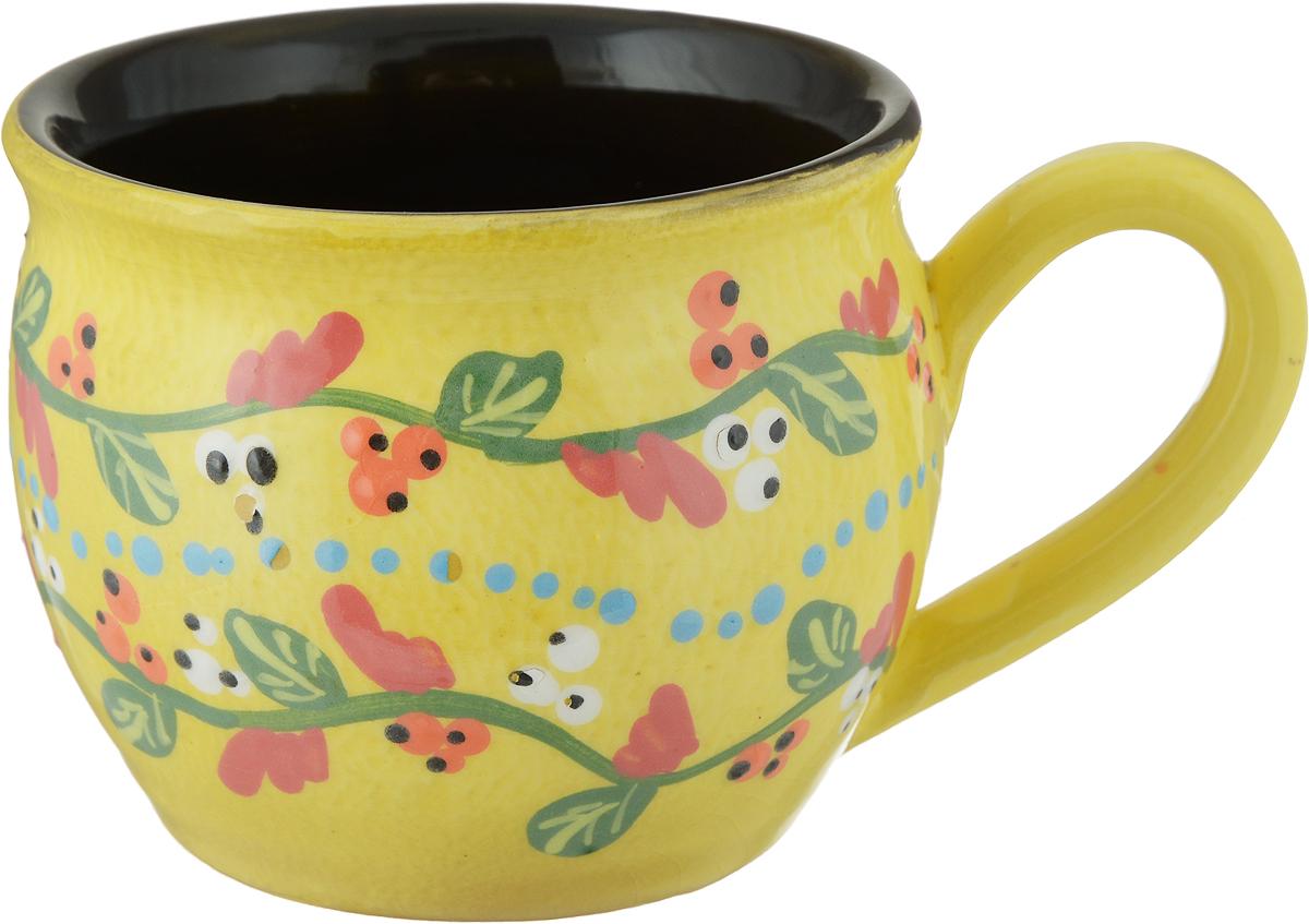Чашка чайная Борисовская керамика Пион, цвет: желтый, 300 млОБЧ00003214_желтый цветыЧашка чайная Борисовская керамика Пион, цвет: желтый, 300 мл