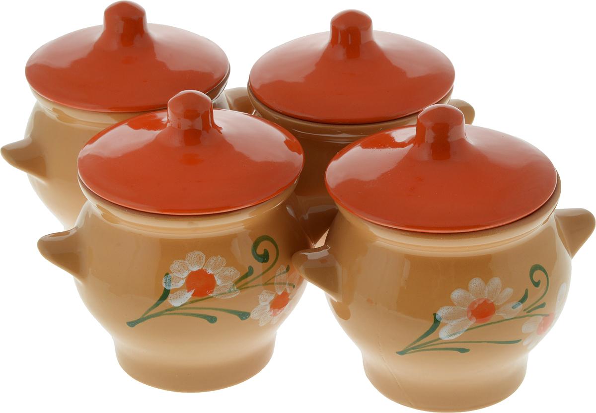 Набор горшочков для запекания Борисовская керамика Стандарт, с крышками, 700 мл, 4 шт