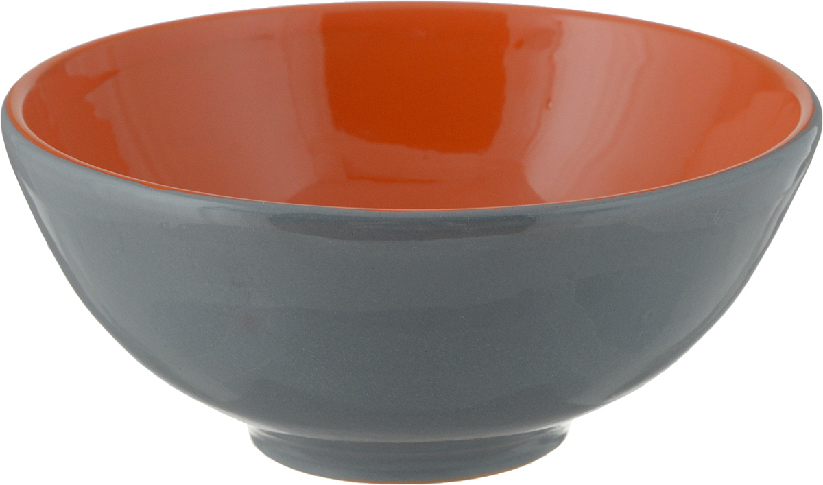 Салатник Борисовская керамика Удачный, цвет: серый, красный, 450 млРАД00003358_серый, красныйСалатник Борисовская керамика Удачный, цвет: серый, красный, 450 мл