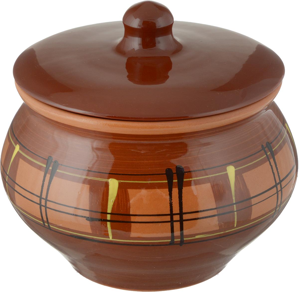 Горшок для запекания Борисовская керамика Cтандарт с крышкой, цвет: коричневый, 1,3 kosta урна с крышкой керамика