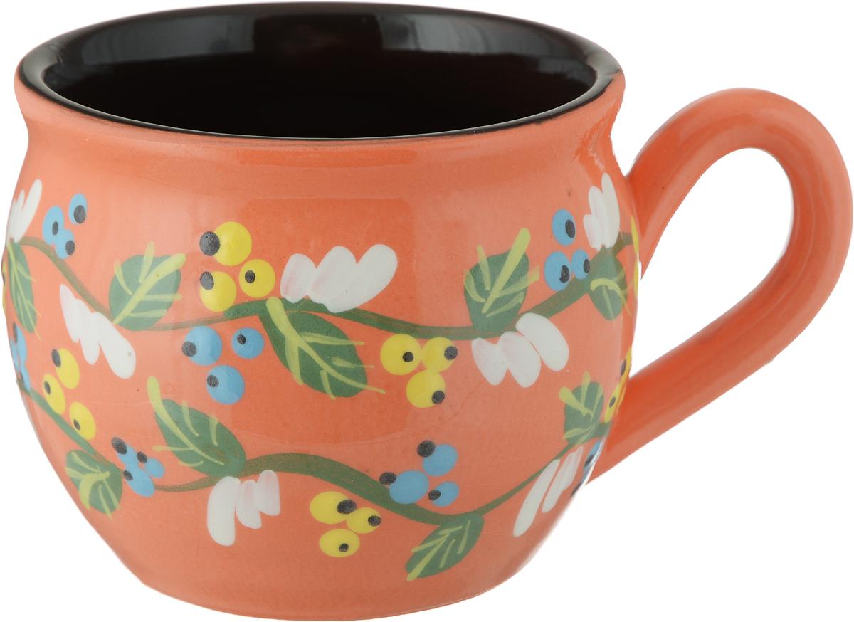 """Чашка чайная Борисовская керамика """"Пион"""", цвет: оранжевый, 300 мл"""