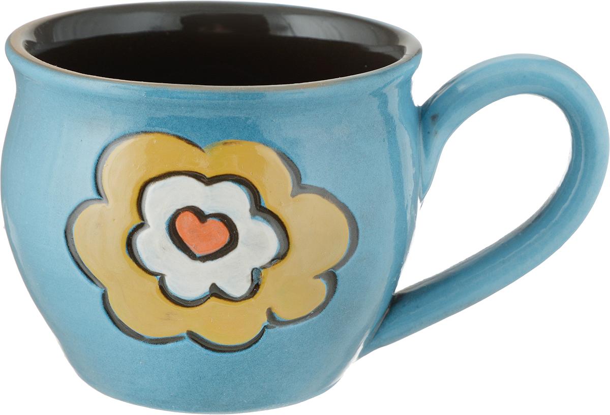 Чашка чайная Борисовская керамика Пион, цвет: голубой, 300 млОБЧ00003214_голубой цветокЧашка чайная Борисовская керамика Пион, цвет: голубой, 300 мл