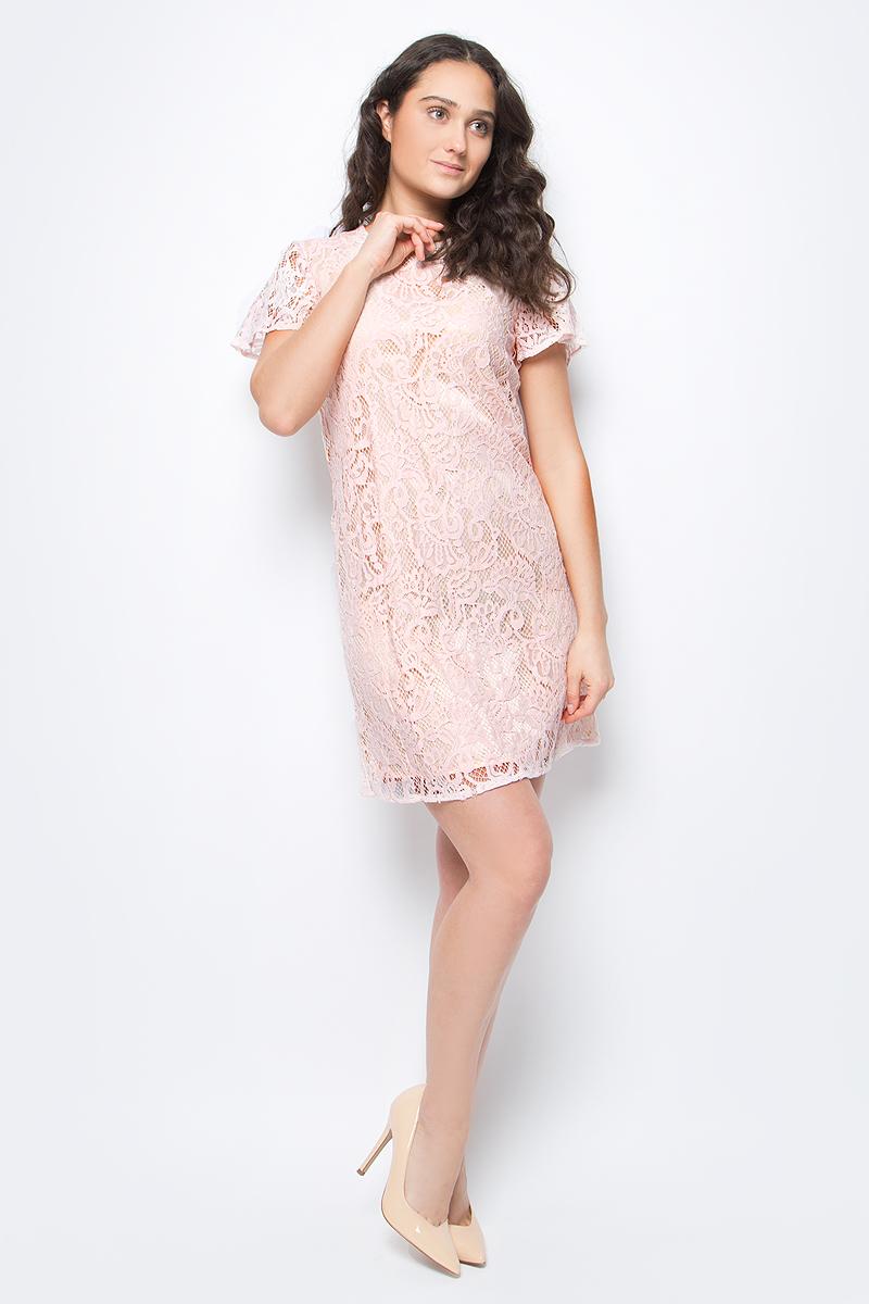 Платье United Colors of Benetton, цвет: розовый. 4YT45V8L4_6H0. Размер M (44/46)4YT45V8L4_6H0Платье от United Colors of Benetton выполнено из гипюра на подкладе. Модель с короткими расклешенными рукавами и круглым вырезом горловины на спине застегивается на потайную молнию.