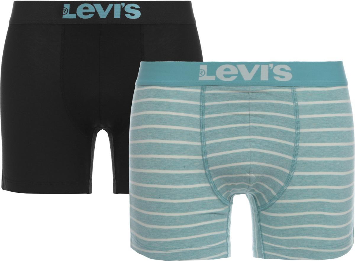 Трусы-боксеры мужские Levi's®, цвет: черный, голубой, полоски, 2 шт. 3714900050. Размер XXL (54) цена