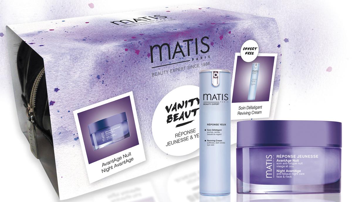 Matis Набор Cияние молодости: Ночной крем предотвращающий старение кожи 50 мл, + Восстанавливающий крем для кожи вокруг глаз