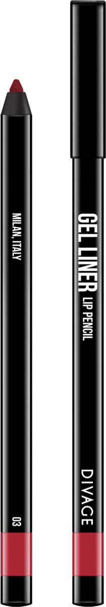 Divage Карандаш для губ гелевый Gel Liner, тон №03, 2 гBriCGLL03Гелевая текстура карандаша не растекается, не скатывается и не смазывается. Мягкая, кремовая формула создает насыщенный, яркий цвет и гарантирует легкое и точное нанесение, сохраняя совершенный вид в течение всего дня. В коллекции самые трендовые оттенки. - 5 модных, универсальных оттенков - в термоусадке.