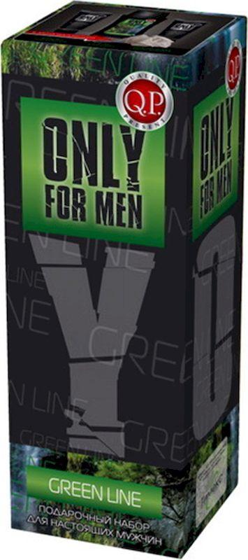 Q.P. Only for Men Green Line Косметический набор мужской: Гель для душа, 250 мл + Крем для бритья, 75 мл + Бальзам после бритья, 75 мл + Мочалка clinique набор aromatics black парфюмерная вода спрей 50 мл лосьон для тела 75 мл гель для душа 75 мл