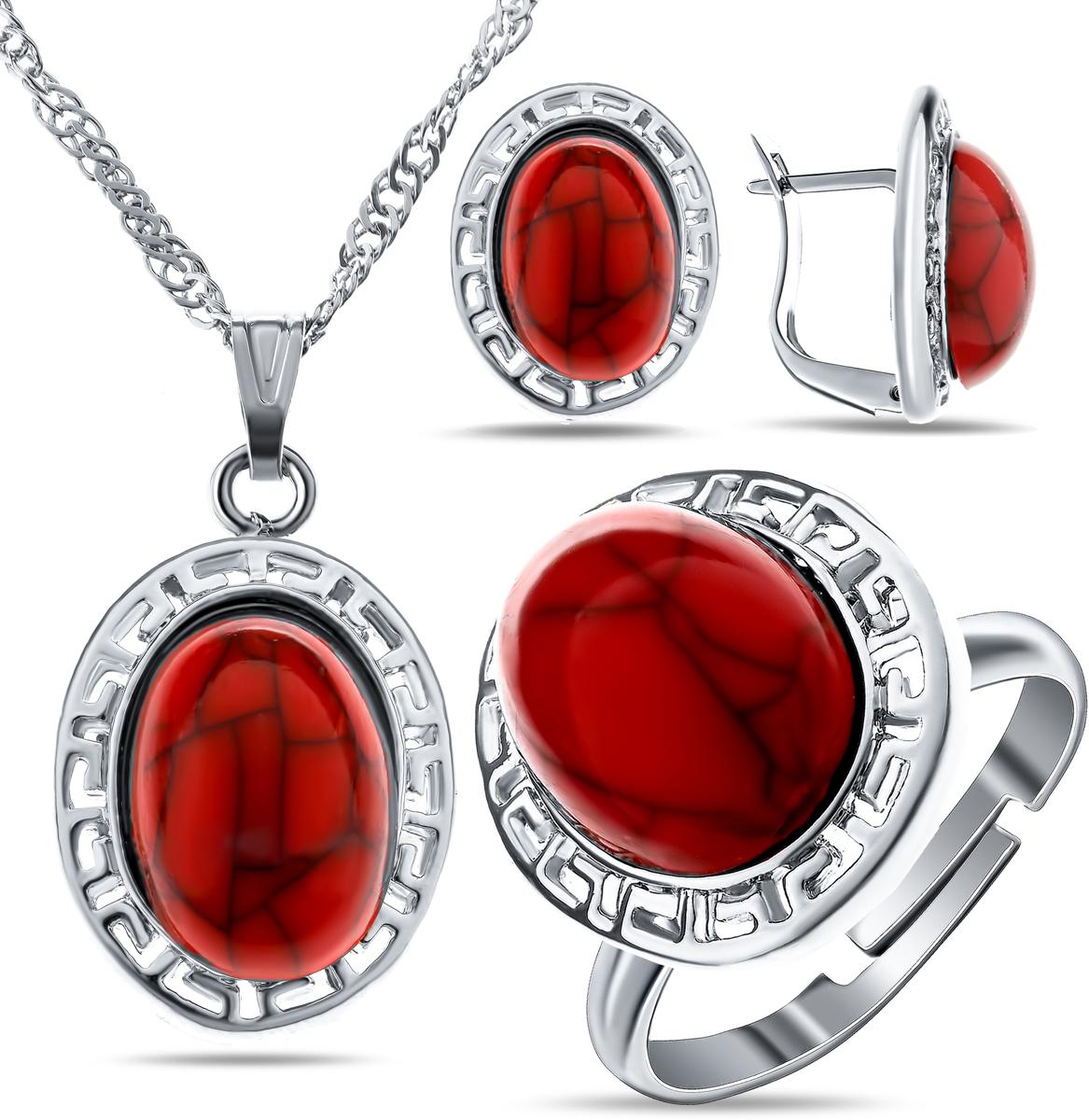 Комплект украшений Teosa: колье, серьги, кольцо, цвет: красный, серебристый. T-SET-140