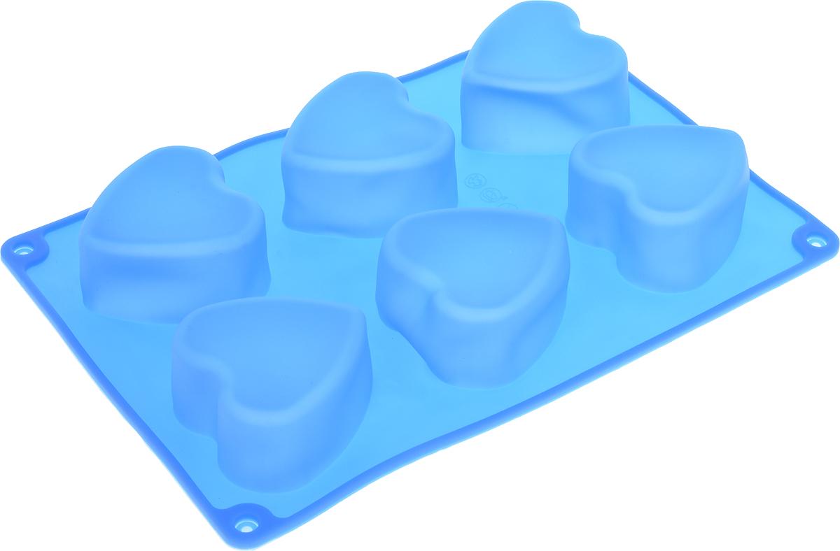 Форма для выпечки Доляна Сердце, цвет: синий, 26,5 х 18 х 3,2 см, 6 ячеек257032_синийФорма для выпечки Доляна Сердце, цвет: синий, 26,5 х 18 х 3,2 см, 6 ячеек