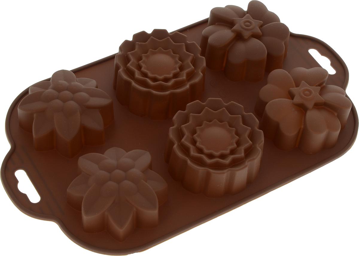 """Форма для запекания Marmiton """"Цветочки"""", силикон, цвет: коричневый, 29 х 17 см, 6 ячеек"""