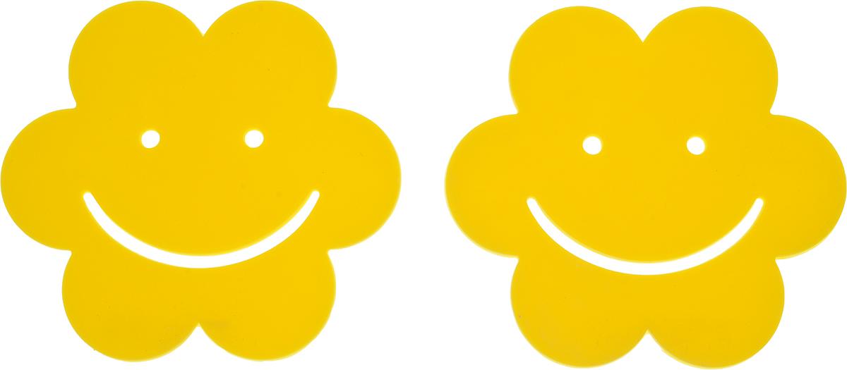 Подставка под горячее Доляна Смайл, силиконовая, цвет: желтый, диаметр 9,5 см, 2 шт148197_желтыйПодставка под горячее Доляна Смайл, силиконовая, цвет: желтый, диаметр 9,5 см, 2 шт