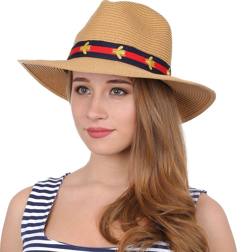 Соломенная шляпа женская Fabretti, цвет: бежевый. GL51. Размер 56/59