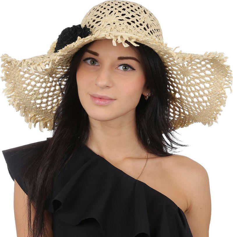 Соломенная шляпа женская Fabretti, цвет: бежевый. GL56. Размер 56/59
