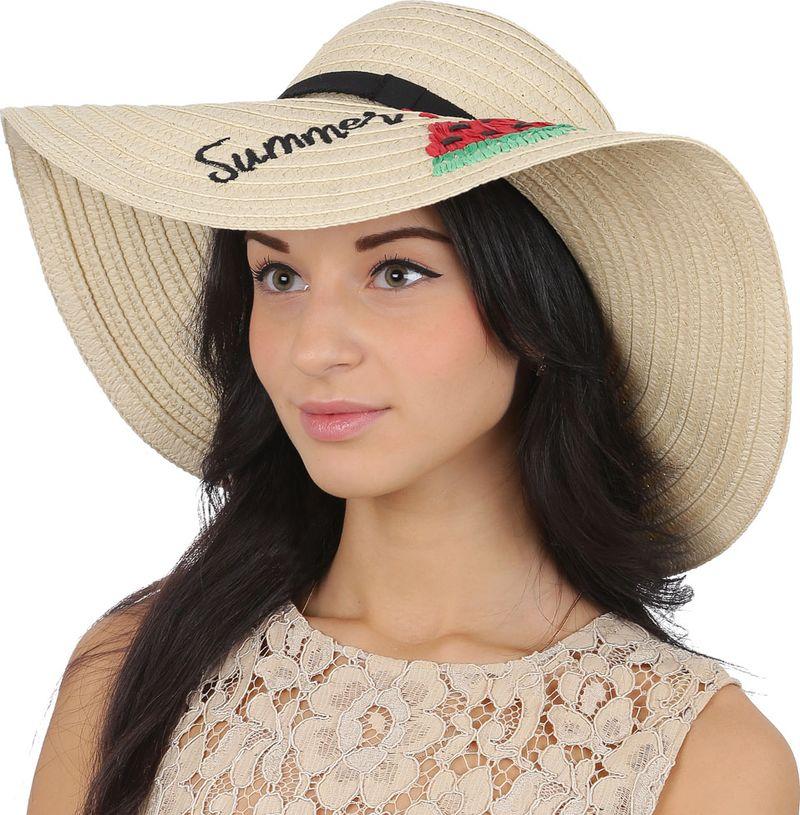 Соломенная шляпа женская Fabretti, цвет: бежевый. GL64. Размер 56/59
